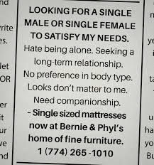 Seeking Ad Bernie Phyl S Print Advert By Devito Verdi Personal Ads 6
