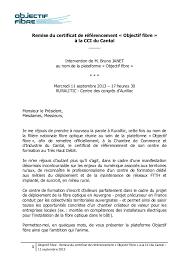 chambre de commerce aurillac remise du certificat de référencement objectif fibre à la cci du