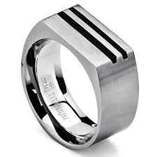 mens rings titanium images Men 39 s bold titanium pinky ring bands with resin inlay brushed jpg