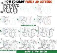 how to draw 3d fancy curvy letters easy step by step drawing