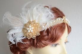 gold headband ready to ship one of a gold gatsby headband ivory feathers