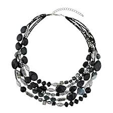multi layer beaded necklace images Bocar multi layer 5 strand statement collar beaded jpg
