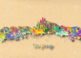 acquerello arte stampa dello skyline di pechino cina bella parete