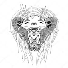 hand drawn lion coloring page roaring zentangle lion u2014 stock