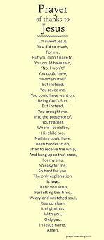 prayer of thanks to jesus prayers prayer of