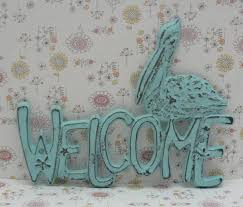 pelican cast iron welcome door sign blue cottage chic shabby chic