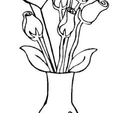 Simple Flower Vase - thin and tall flower vase coloring page coloring sky