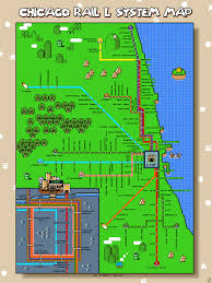 L Train Chicago Map by Pixel Art Super Mario World L Map Some Chicago Improvisor