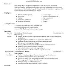 sample stage management resume stage manager cover letter sample