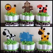 Safari Baby Shower Centerpiece by Mini Jungle Diaper Cakes Set Of 6 Safari Baby Shower Baby Shower