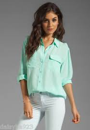 equipment signature blouse 218 equipment femme signature 100 silk blouse xs mint green