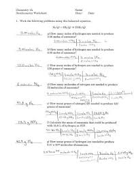 Stoichiometry Practice Worksheet Answer Key Chemistry 121 Worksheet Equations And Stoichiometry