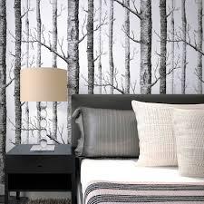 rustic modern forest birch tree minimalist black white woods