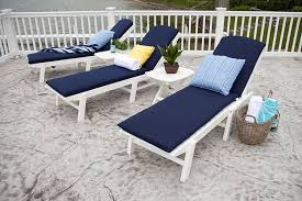 Outdoor Lounge Furniture Amazon Com Polywood Naw2280wh Nautical Wheeled Chaise Stackable
