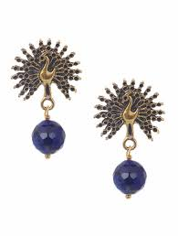 peacock design earrings buy onyx gold tone earrings with peacock design online at jaypore