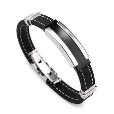 rubber stainless steel bracelet images Men 39 s silver stainless steel black rubber bangle bracelet online jpg