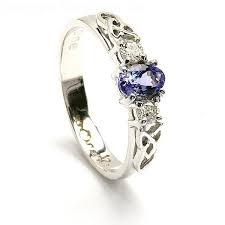celtic engagement rings tanzanite and diamond celtic engagement ring in 14k white gold