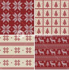 set of traditional knitted scandinavian seamless