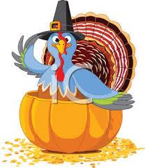 picture of a turkey sitting inside a pumpkin wearing a top hat in