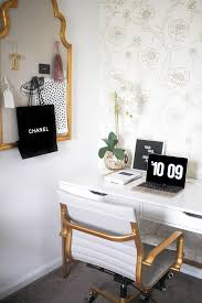 white and gold office desk blogger office tour feminine office white office and bright