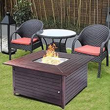 patio furniture with fire pit table amazon com belleze 40 000btu outdoor patio propane gas fire pit