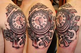 roses and clock half sleeve tattoos photos pictures and