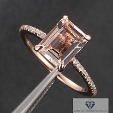 engagement rings emerald cut emerald cut morganite solitaire engagement ring diamond pave