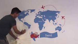 Kids World Map by Kids World Map Sticker For Kids Room Decor How To Apply Youtube