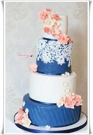 coral wedding cakes navy ivory and coral wedding cake cake by emmy cakesdecor