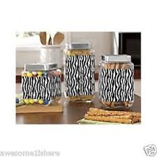 zebra kitchen canisters set safari animal print food storage