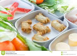 set of food suki is japanese food in restaurants thai style stock