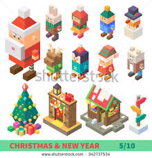 new year items christmas new year isometric set different stock vector 342737534