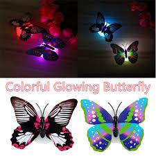2pcs led glowing 3d butterfly night light sticker art design mural