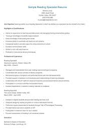 It Specialist Resume Sample by Sample Reading Specialist Resume Resame Pinterest Reading