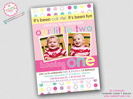 colorful fun year twin girls first birthday party invitation