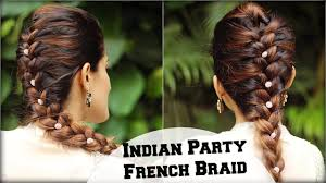 easy french braid ponytail hairstyle for indian wedding occasion