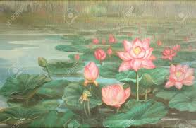 lotus oil color painting stock photo picture and royalty free