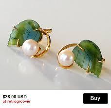1960 s earrings vintage pearl earrings carved jade earrings 1960s jewelry gold