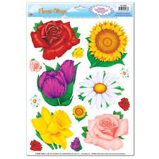 flower window clings 14 pkg partycheap