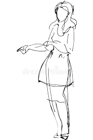 vector sketch of a woman is pointing direction stock vector