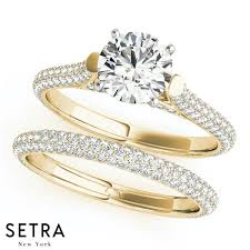 pave set rings images Micro pave setting single row diamond engagement rings 14k gold jpg