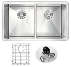 anzzi vanguard undermount stainless steel 32 in double bowl anzzi vanguard undermount stainless steel 32 in double bowl kitchen sink and faucet set with sails faucet in brushed nickel
