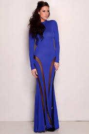 royal blue long sleeve open back mesh maxi dress clubwear
