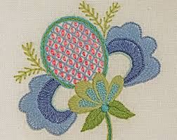 crewel embroidery kit jacobean leaves