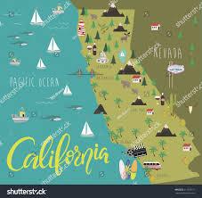 Map Of San Diego California by Illustration Map California Animals Landmarks Vector Stock Vector