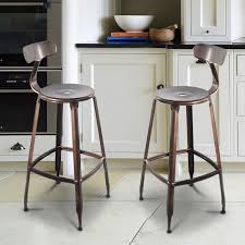 industrial metal bar stools with backs attractive copper metal bar stool with back set of two ch0268 2