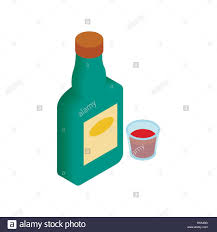 alcohol vector a bottle of alcohol and a glass isometric 3d icon stock vector art