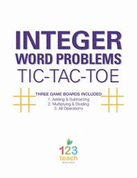 integer word problems review activity partner tic tac toe tpt