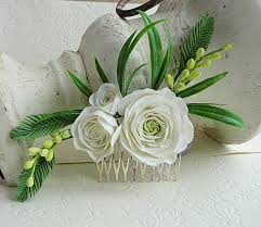 wedding flowers greenery flower hair comb floral hair wedding flower comb ivory
