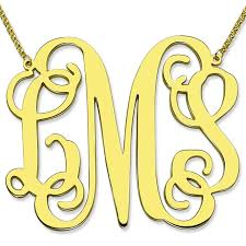 monogram necklace pendant gold color large size monogram necklace 2 inch pendant